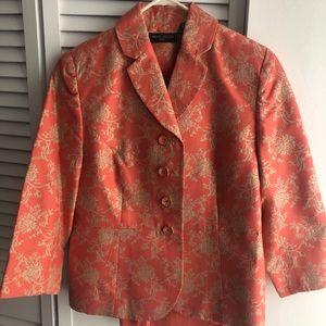Valerie Stevens Coral Blazer Skirt & silk pant set